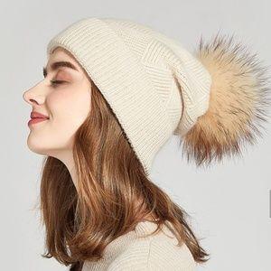 Accessories - Anika Wool Cross Knit Hat Fur Pom - Cream